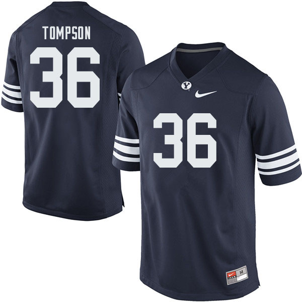 Men #36 Colin Tompson BYU Cougars College Football Jerseys Sale-Navy