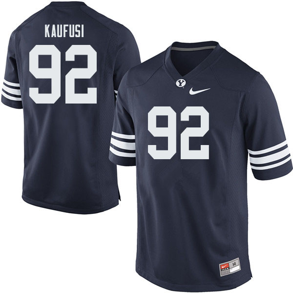 Men #92 Devin Kaufusi BYU Cougars College Football Jerseys Sale-Navy
