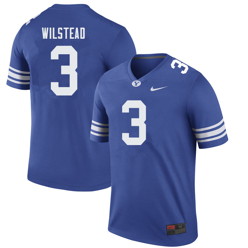 Men #3 Kody Wilstead BYU Cougars College Football Jerseys Sale-Royal