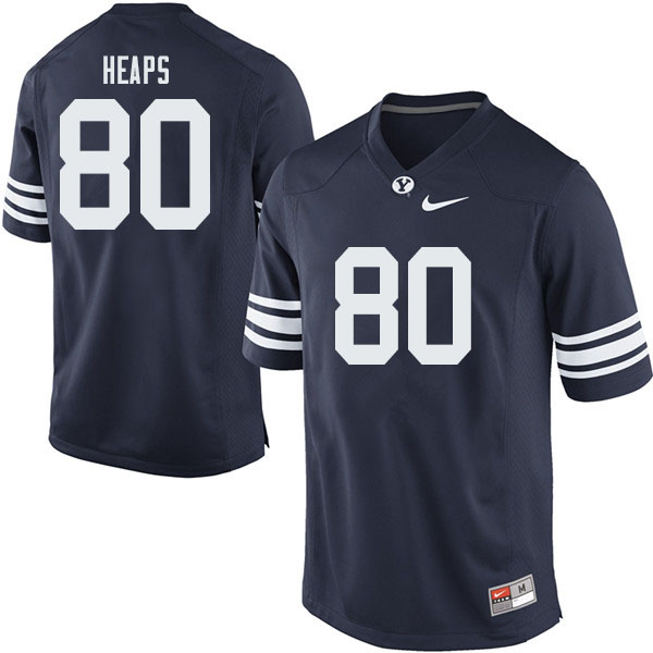 Men #80 Nate Heaps BYU Cougars College Football Jerseys Sale-Navy