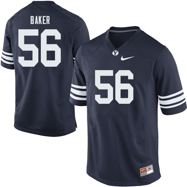 Men #56 Tanner Baker BYU Cougars College Football Jerseys Sale-Navy