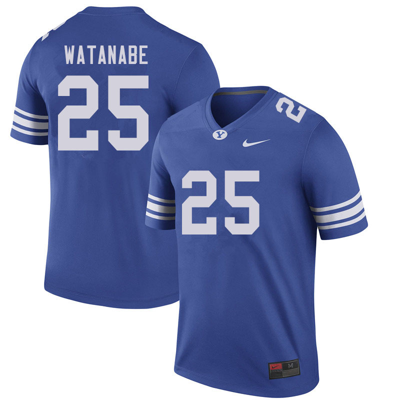 Men #25 Will Watanabe BYU Cougars College Football Jerseys Sale-Royal