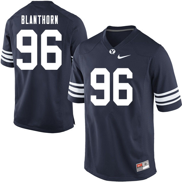 Men #96 Garred Blanthorn BYU Cougars College Football Jerseys Sale-Navy