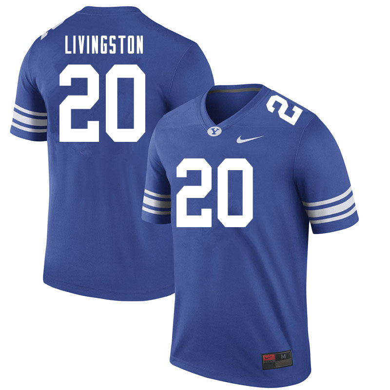 Men #20 Hayden Livingston BYU Cougars College Football Jerseys Sale-Royal