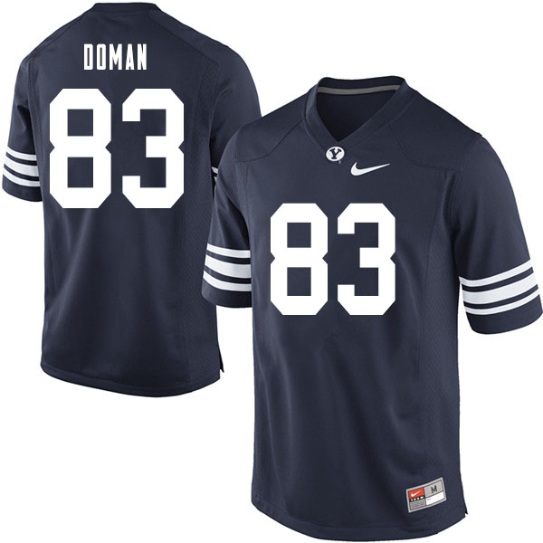 Men #83 Jacob Doman BYU Cougars College Football Jerseys Sale-Navy