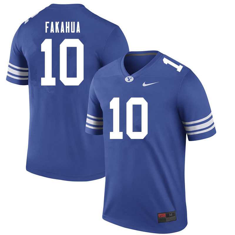Men #10 Mason Fakahua BYU Cougars College Football Jerseys Sale-Royal