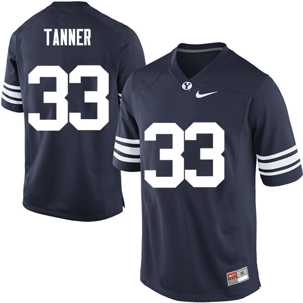 Men #33 Beau Tanner BYU Cougars College Football Jerseys Sale-Navy