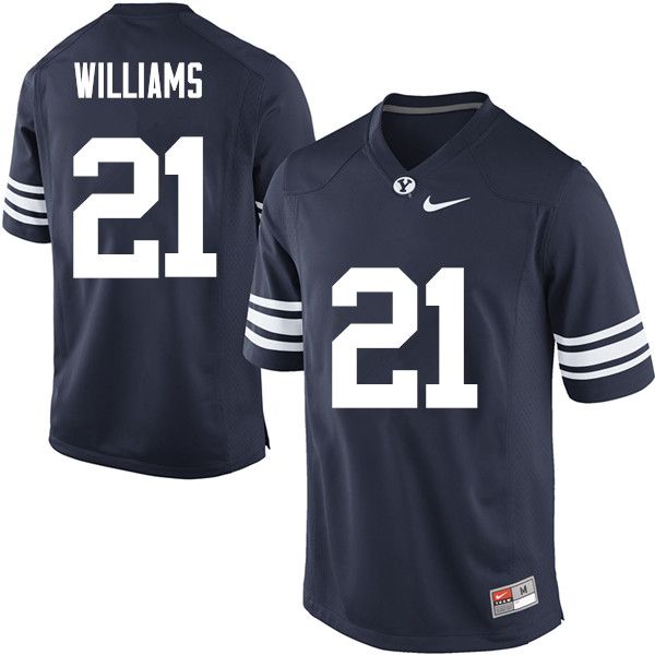 Men #21 Jamaal Williams BYU Cougars College Football Jerseys Sale-Navy