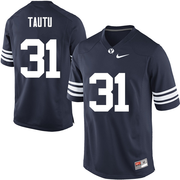Men #31 Sae Tautu BYU Cougars College Football Jerseys Sale-Navy