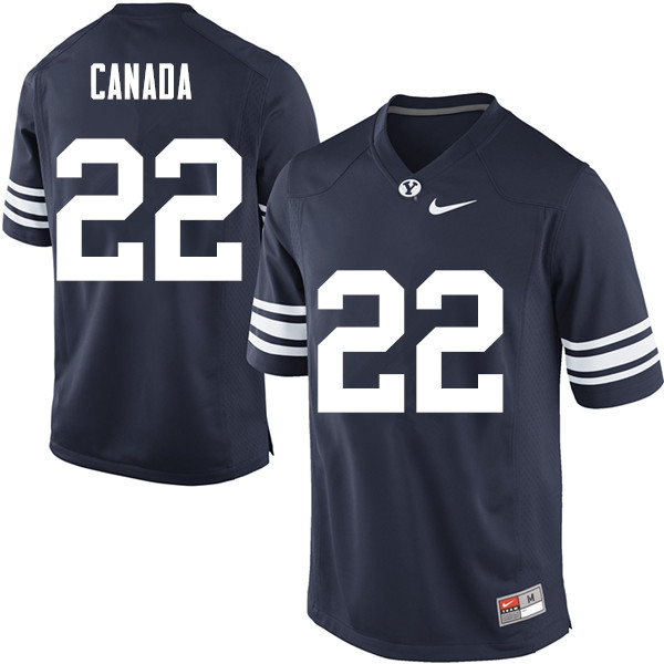 Men #22 Squally Canada BYU Cougars College Football Jerseys Sale-Navy