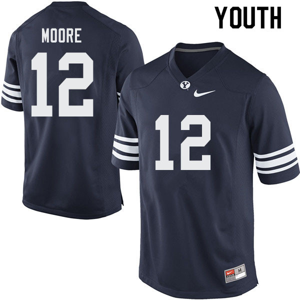 Youth #12 Malik Moore BYU Cougars College Football Jerseys Sale-Navy
