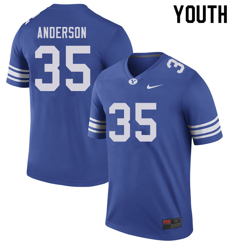 Youth #35 Matthew Anderson BYU Cougars College Football Jerseys Sale-Royal