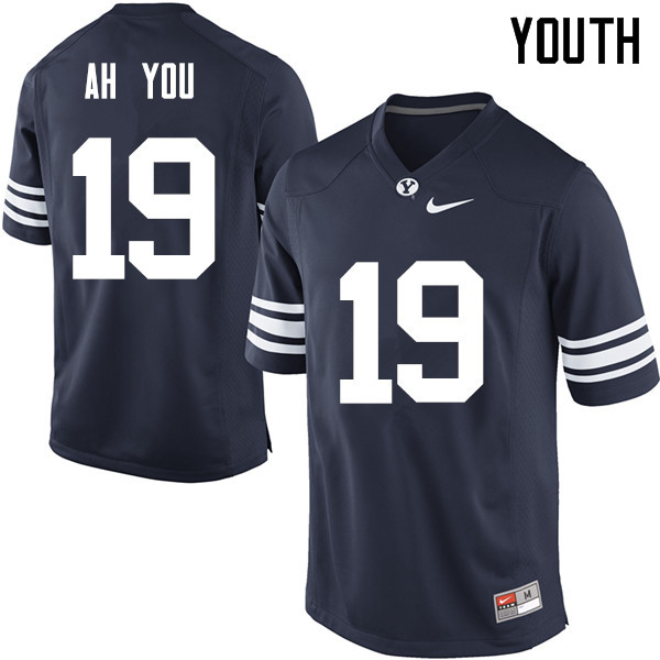 Youth #19 Chaz Ah You BYU Cougars College Football Jerseys Sale-Navy