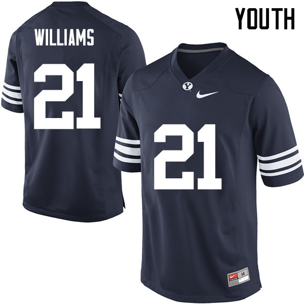 Youth #21 Jamaal Williams BYU Cougars College Football Jerseys Sale-Navy