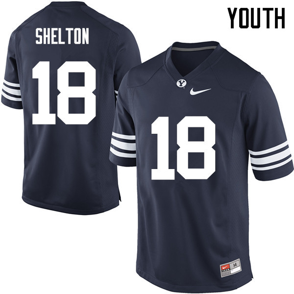 Youth #18 Michael Shelton BYU Cougars College Football Jerseys Sale-Navy