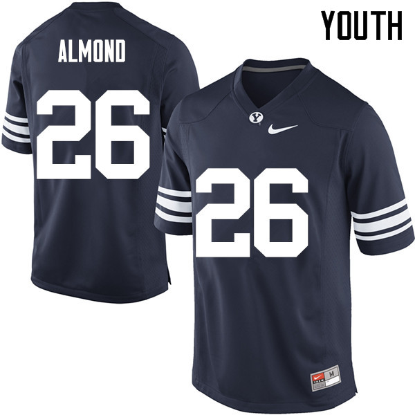 Youth #26 Rhett Almond BYU Cougars College Football Jerseys Sale-Navy