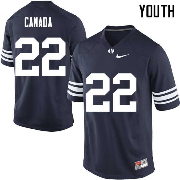 Youth #22 Squally Canada BYU Cougars College Football Jerseys Sale-Navy