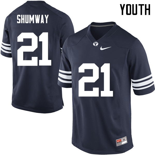 Youth #21 Talon Shumway BYU Cougars College Football Jerseys Sale-Navy