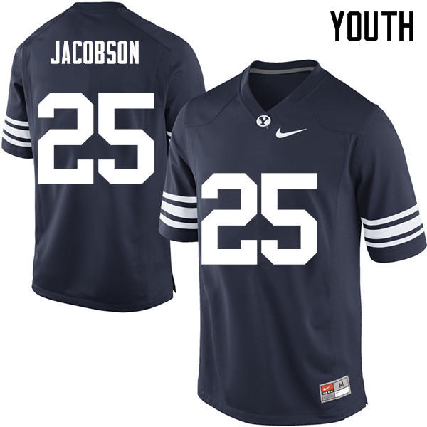 Youth #25 Tanner Jacobson BYU Cougars College Football Jerseys Sale-Navy