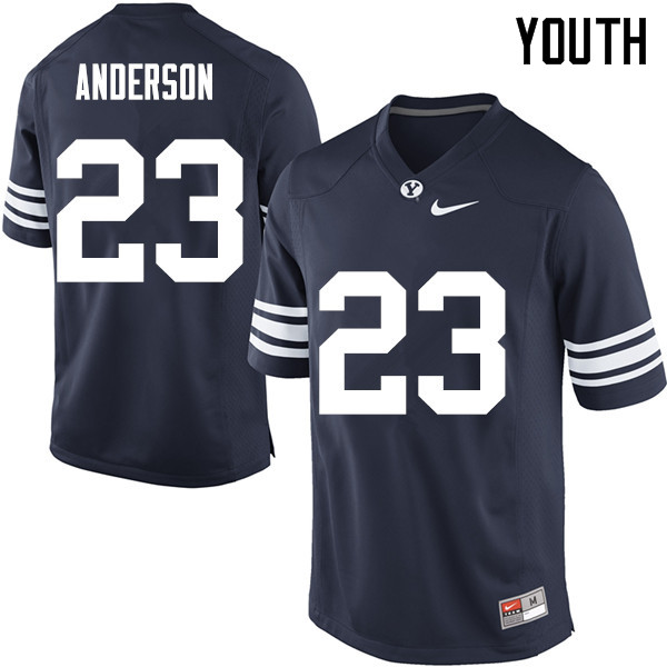 Youth #23 Zayne Anderson BYU Cougars College Football Jerseys Sale-Navy