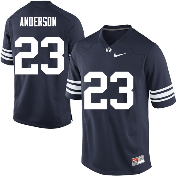 Men #23 Zayne Anderson BYU Cougars College Football Jerseys Sale-Navy